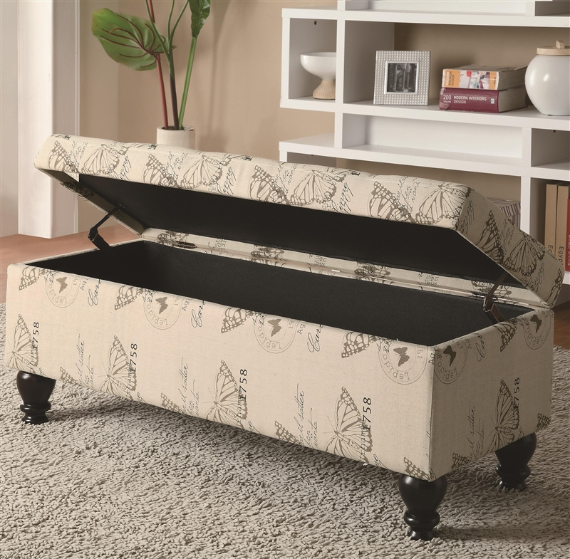 Butterfly Print Fabric Storage Bench By Coaster   500985
