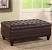 Dark Brown Vinyl Upholstered Storage Ottoman by Coaster - 501041