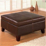 Dark Brown Vinyl Upholstered Storage Ottoman by Coaster - 501042