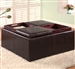 Dark Brown Vinyl Upholstered Storage Ottoman by Coaster - 501043