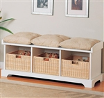 Storage Bench in White Finish by Coaster - 501054