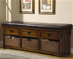 60 Inch Storage Bench in Medium Brown Finish by Coaster - 501060