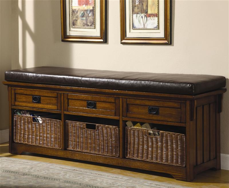 60 Inch Storage Bench In Medium Brown Finish By Coaster 501060