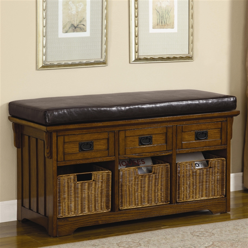 42 Inch Storage Bench In Medium Brown Finish By Coaster 501061