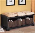 Storage Bench in Black Finish by Coaster - 501064