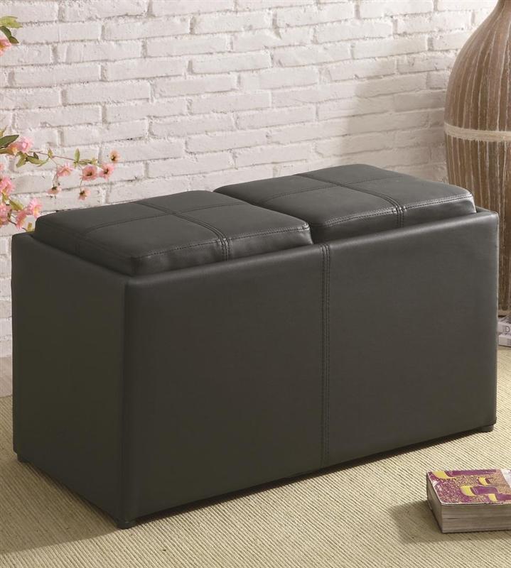 MultiPurpose Black Leather Like Vinyl Storage Ottoman by Coaster