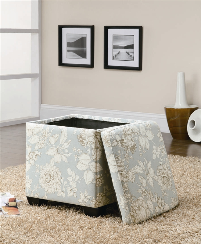 Wondrous Floral Pattern Storage Ottoman By Coaster 501088 Gmtry Best Dining Table And Chair Ideas Images Gmtryco
