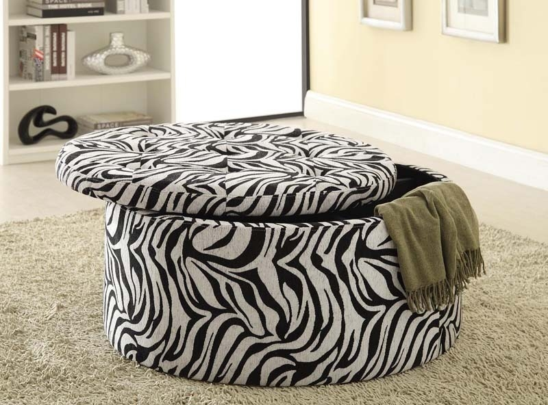 - Zebra Print Storage Ottoman By Coaster - 501103