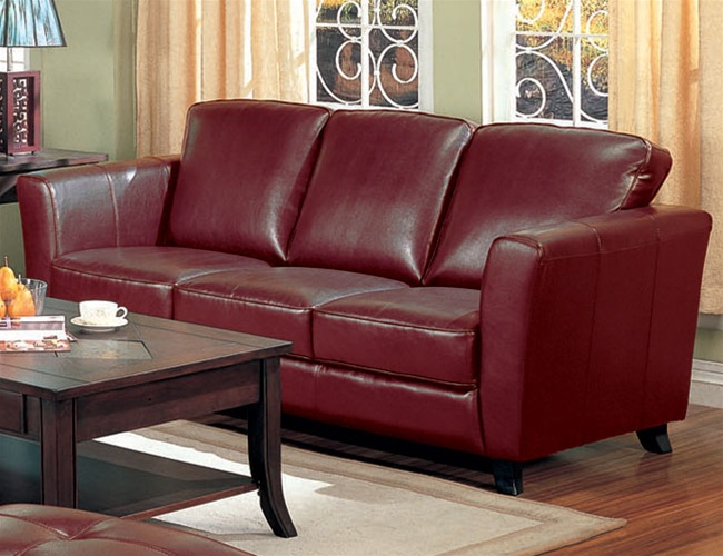 Brady Red Brown Leather Sofa By Coaster 501241