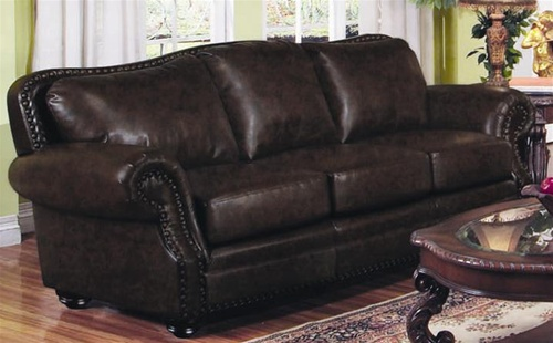 Wilson Dark Burgundy Leather Sofa by Coaster - 501391
