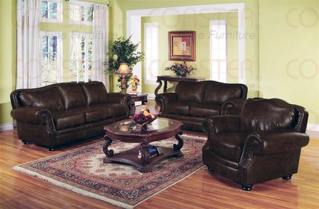 Wilson Dark Burgundy Leather Sofa by Coaster - 501391