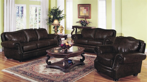 Wilson Dark Burgundy Leather Living Room Set by Coaster - 501391-2 (Sofa &  LoveSeat)