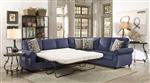 Kendrick Sectional Sleeper in Blue Chenille Upholstery by Coaster - 501545