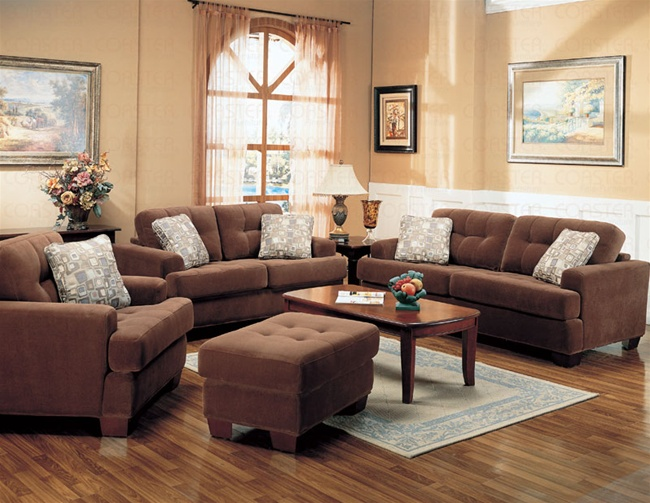 Stanley Sofa In Terry Cloth Brown Fabric Cover By Coaster 501771