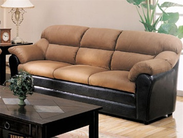 Taylor Sofa In Mocha Microfiber/Dark Brown Faux Leather Cover By Coaster    501881