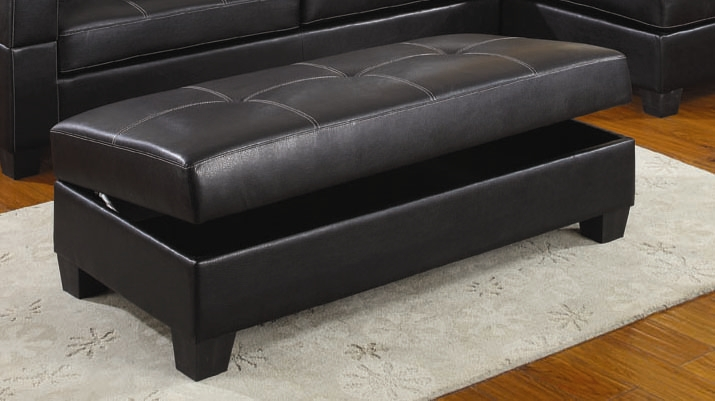 Randall Storage Ottoman In Black Leather Upholstery By Coaster   COA 501897