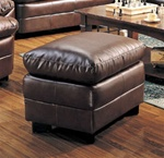 Harper Ottoman in Rich Brown Bonded Leather by Coaster - 501914