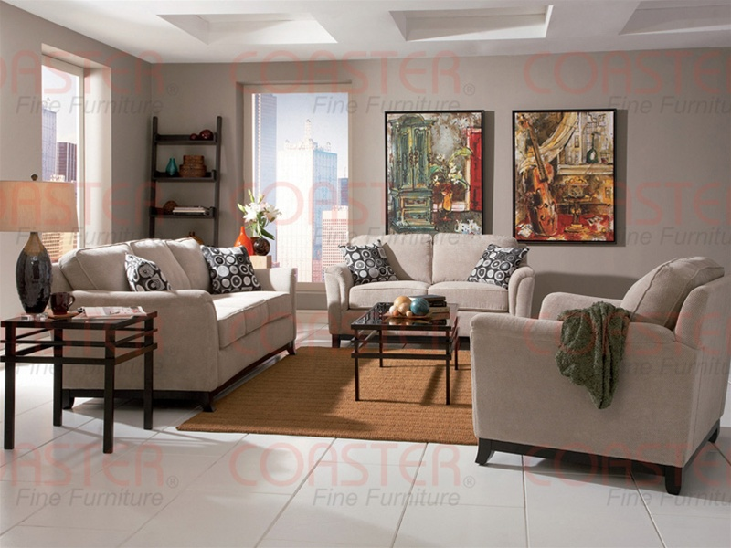 Carver 2 Piece Beige Chenille Living Room Set By Coaster 502471s