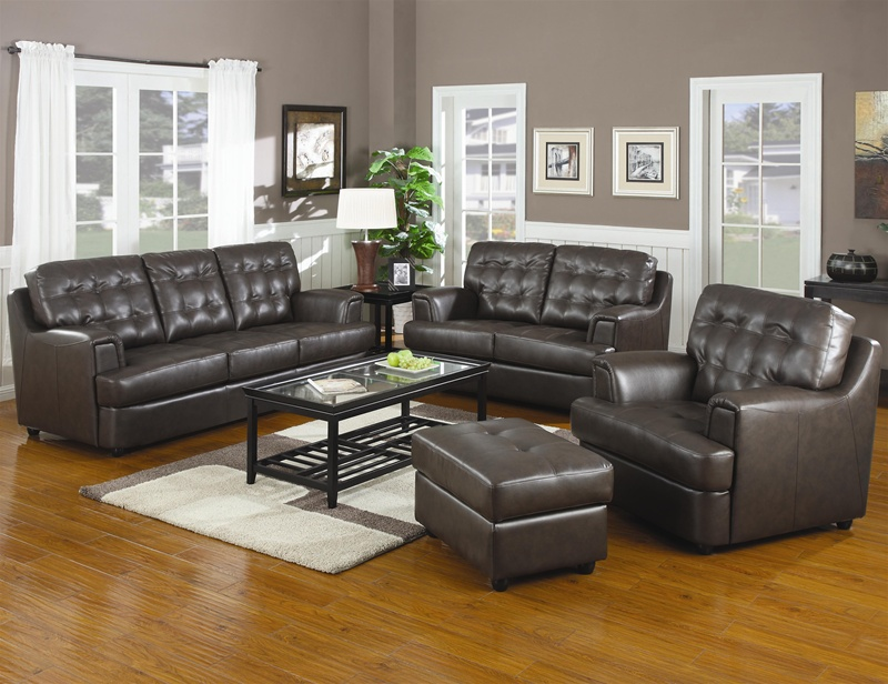 Hugo chocolate leather sofa loveseat set by coaster for Coffee tables port elizabeth