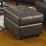 Hugo Chocolate Leather Ottoman by Coaster - 502684