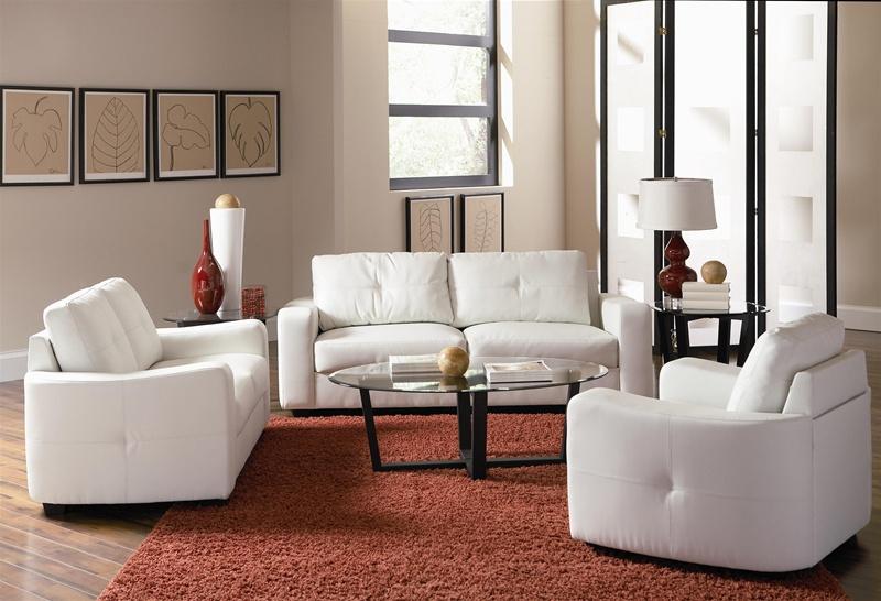 Jasmine Vibrant White Leather 2 Piece Sofa Loveseat Set By Coaster 502711 S
