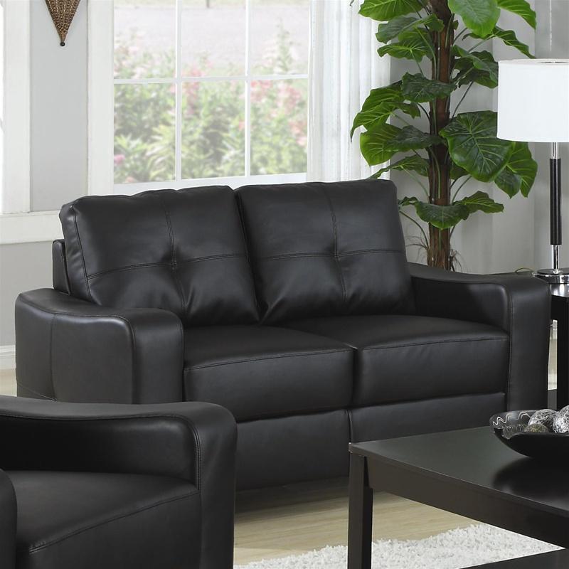 Jasmine Rich Black Leather 2 Piece Sofa Loveseat Set By Coaster 502721 S