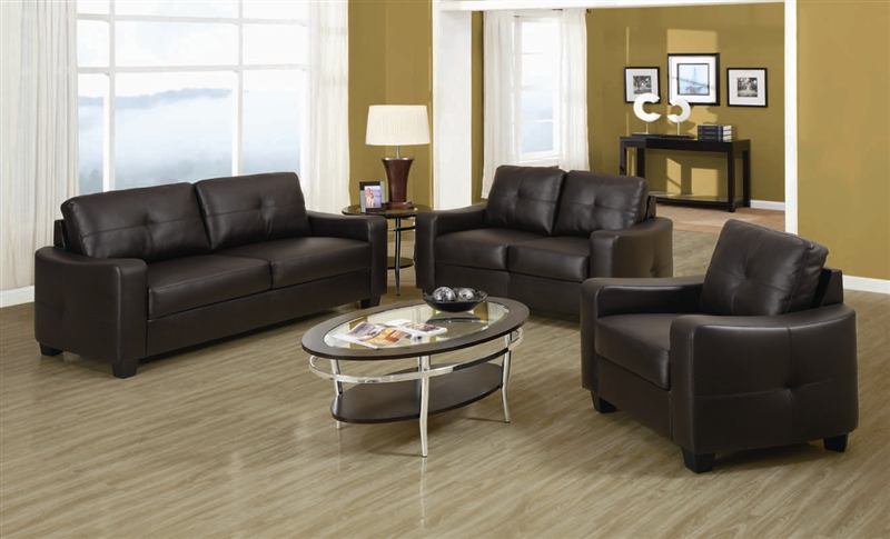 Jasmine Brown Leather 2 Piece Sofa, Loveseat Set by Coaster - 502731-S