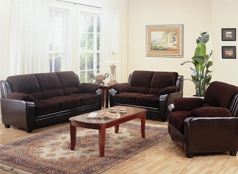 Charming Monika Chocolate Corduroy 2 Piece Sofa, Loveseat Set By Coaster   502811 S