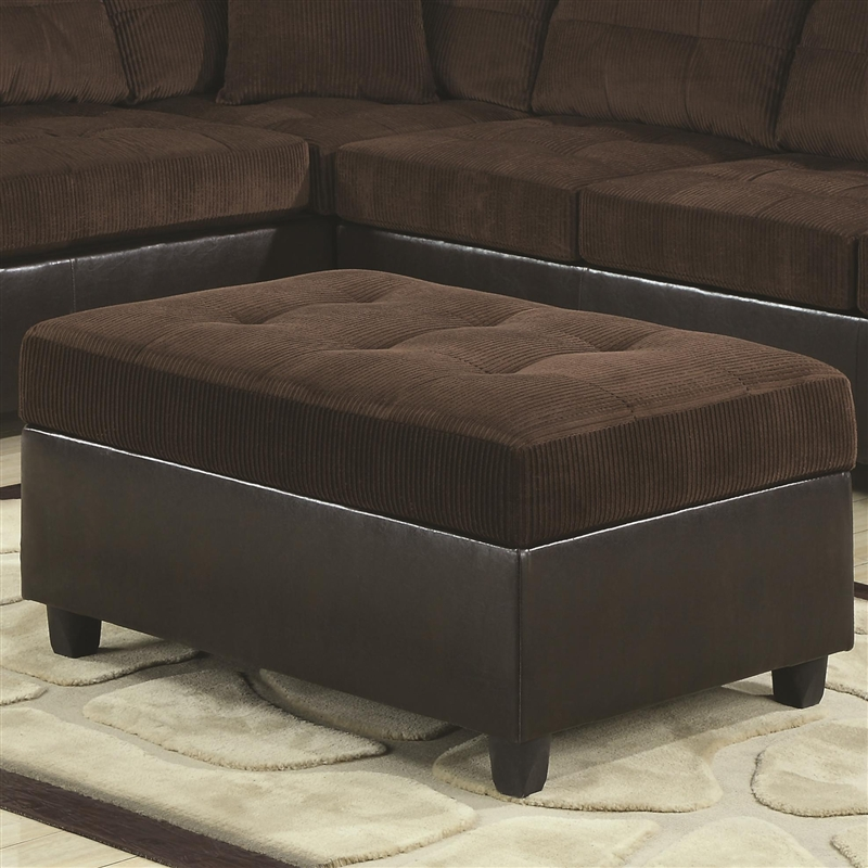 Terrific Henri Storage Ottoman In Two Tone Chocolate Corduroy By Coaster 503014 Ibusinesslaw Wood Chair Design Ideas Ibusinesslaworg