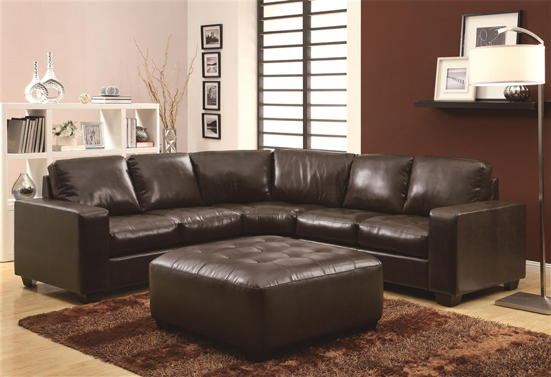 Swell Howard Dark Brown Leather Sectional By Coaster 503441 Ncnpc Chair Design For Home Ncnpcorg