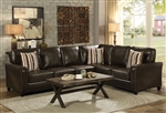 Larkny Sectional Sleeper in Brown Leatherette Upholstery by Coaster - 504005