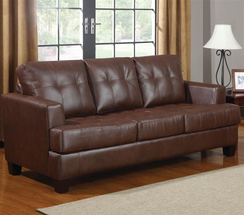Samuel Sofa Sleeper In Dark Brown Leather By Coaster 504070