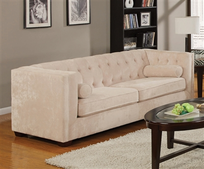 Cairns Sofa in Almond Chenille Fabric by Coaster - 504391