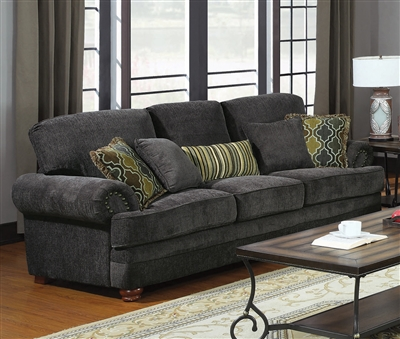 Colton Sofa in Smokey Grey Chenille Fabric by Coaster - 504401
