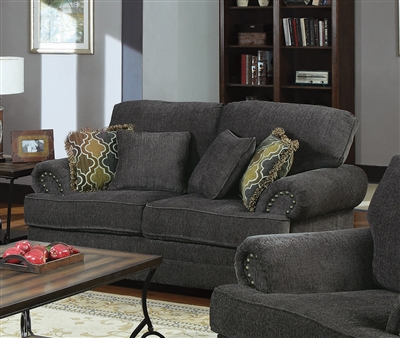 Colton Loveseat in Smokey Grey Chenille Fabric by Coaster - 504402