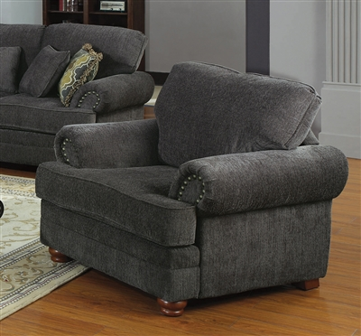 Colton Chair in Smokey Grey Chenille Fabric by Coaster - 504403