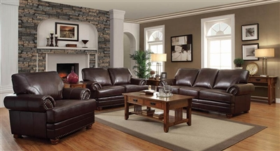 Colton 2 Piece Sofa Set in Brown Leatherette Upholstery by Coaster - 504411-S