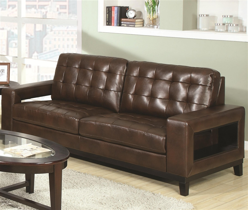 paige 2 piece living room set in brown leathercoaster - 504431-s