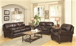 Lockhart 2 Piece Sofa Set in Brown Leather by Coaster - 504691-S