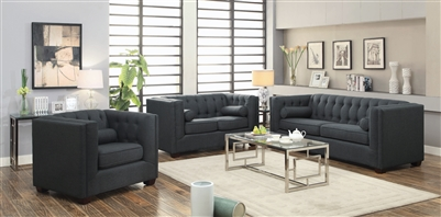 Cairns 2 Piece Tufted Sofa Set in Charcoal Linen-Like Fabric by Coaster - 504901-S