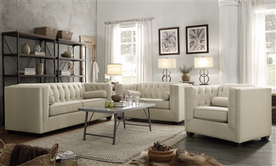Cairns 2 Piece Tufted Sofa Set in Oatmeal Linen-Like Fabric by Coaster - 504904-S