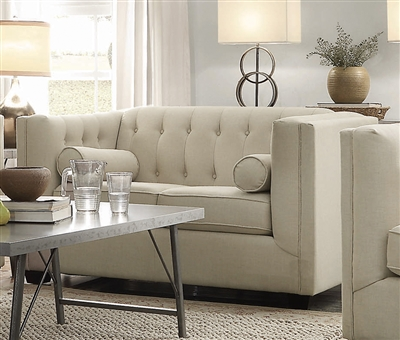 Cairns Tufted Loveseat in Oatmeal Linen-Like Fabric by Coaster - 504905