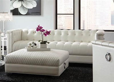 Chaviano Sofa in Tufted Pearl White Leatherette by Coaster - 505391