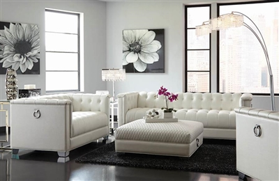 Chaviano 2 Piece Sofa Set in Tufted Pearl White Leatherette by Coaster - 505391-S