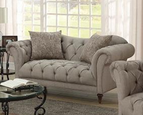 Alasdair Loveseat in Tufted Light Brown Herringbone Fabric by Coaster - 505572