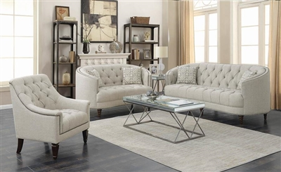 Avonlea 2 Piece Sofa Set in Tufted Grey Linen Like Fabric by Coaster - 505641-S