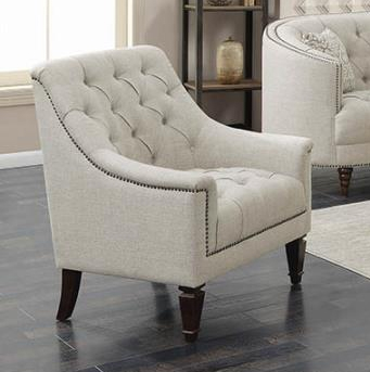 Avonlea Chair in Tufted Grey Linen Like Fabric by Coaster - 505643