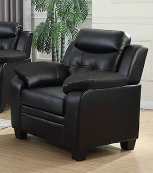 Finley Chair in Black Leatherette Upholstery by Coaster - 506553