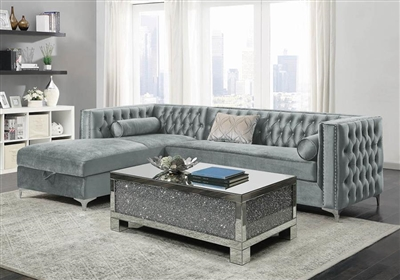 Bellaire Storage Sectional in Silver Velvet Fabric by Coaster - 508280
