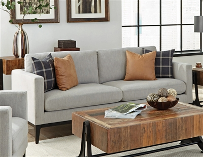 Asherton Sofa in Light Grey Woven Fabric by Coaster - 508481